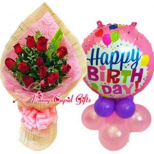 1 Dozen Red Roses Bouquet, Happy Birthday MylarBalloons
