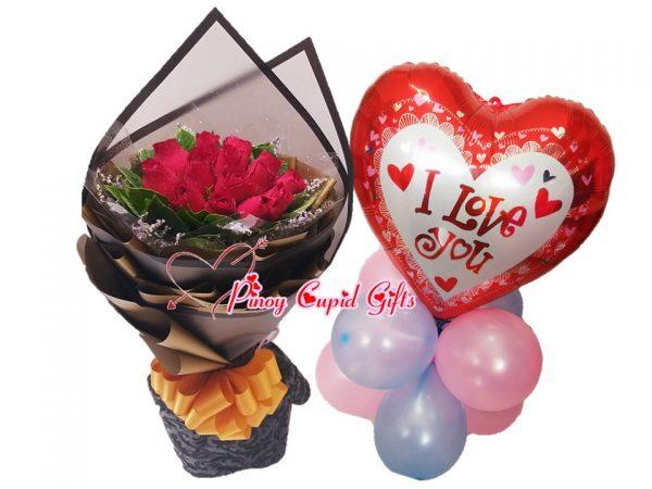 1 Dozen red roses & I Love You Mylar Balloons