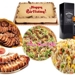 Lido Chinese Food: Pancit Canton Guissado, Yang Chow Fried Rice, Drunken Lechon Macau, Roasted Assado, Red Ribbon Dedication Cake, Jack Daniel's Whiskey 700ml