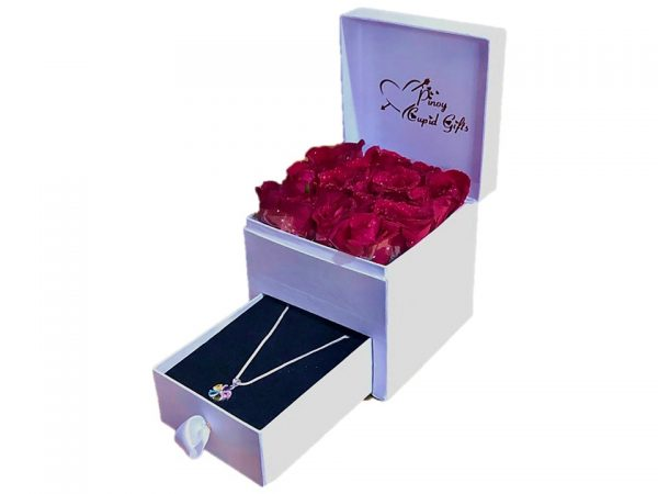 Red Roses and Sterling Silver Necklace in a gift box