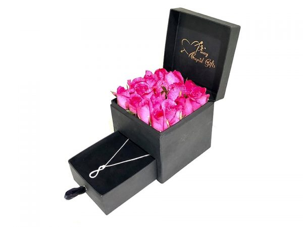 Pink Roses and Sterling Silver Necklace in a special gift box