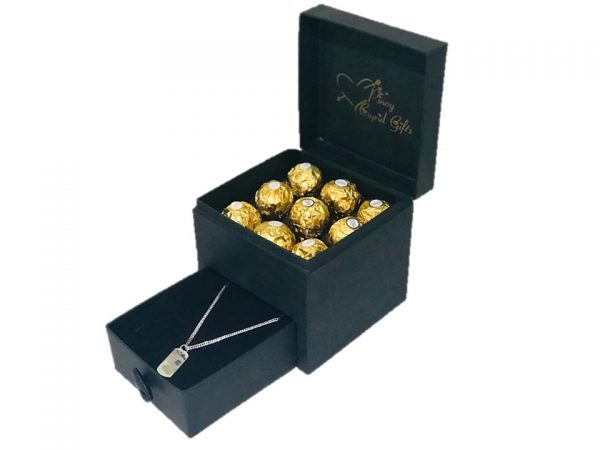 Ferrero Chocolate and Dog Tag Necklace in a gift box