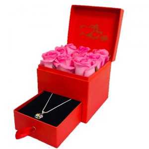 Pink Roses and Sterling Silver Necklace in a gift box