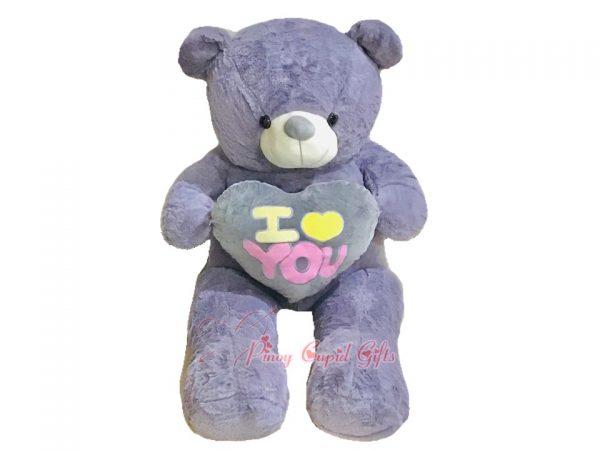 4 FT I Love You Heart Bear-Grey