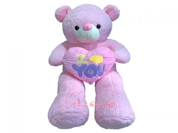 4ft life size pink bear with heart