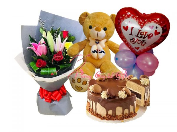 mixed flowers, 2ft teddy bear, cake and balloons