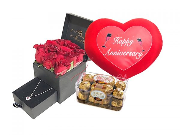 romantic box with roses and silver necklace...plus chocolate and anniversary balloons