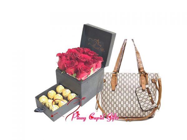 romantic box with ferrero choco...plus ladies hand bag