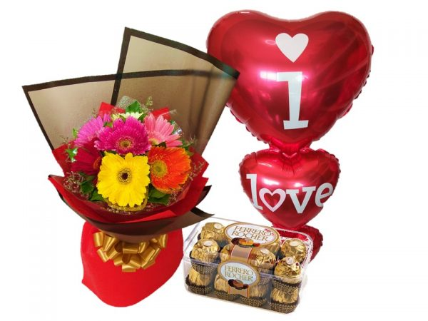 mixed gerberas, ferrero chocolates and mylar balloons