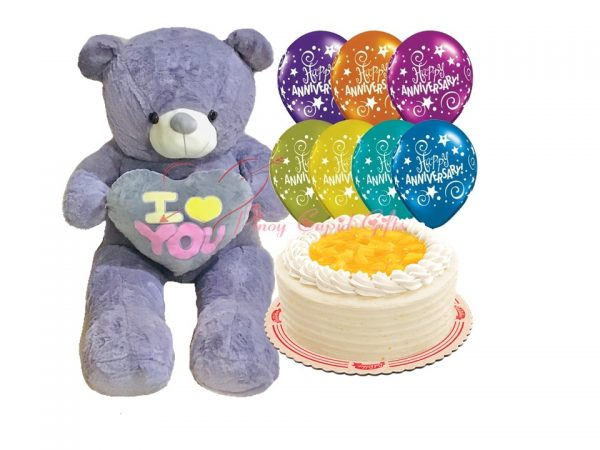 4ft life-size bear, cake and anniversary balloons