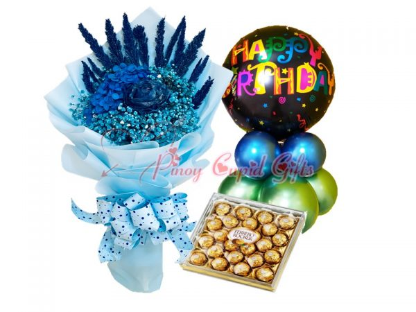 Dried blue flowers, ferrero chocolate, birthday balloons