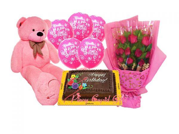 4ft life-size bear, roses, dedication cake and birthday balloons