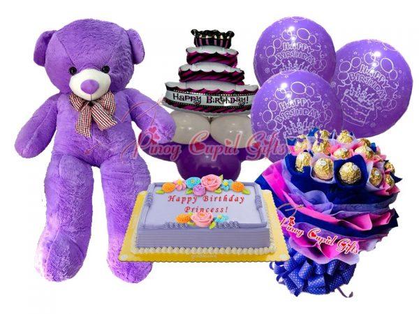 4FT Life-Size Teddy Bear, Ferrero Bouquet, Ube Cake, and Birthday Balloons