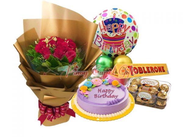roses, pastel blooms ube cake round, toblerone and ferrero choco, plus birthday balloons