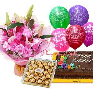 mixed flowers, ferrero chocolate, dedication cake and birthday balloons
