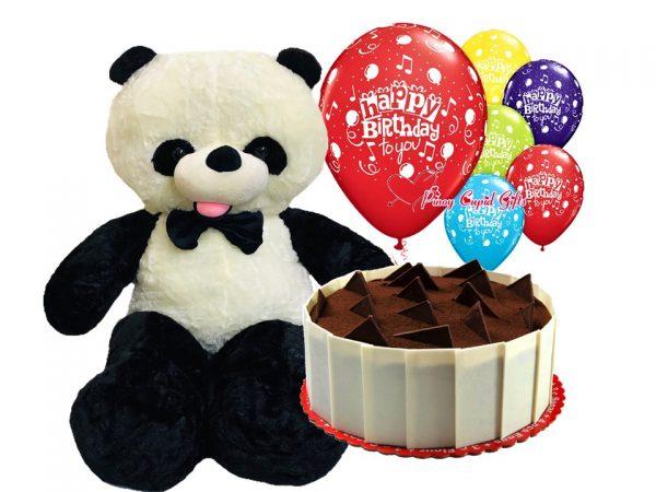 4ft life-size panda teddy bear, cheesecake and birthday balloons