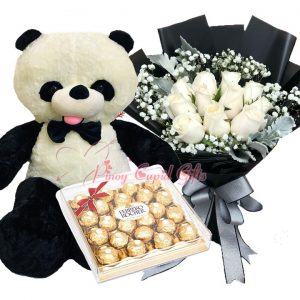4 FT Panda Bear, 10 Imported White Roses Bouquet 24 pcs Ferrero Chocolate,
