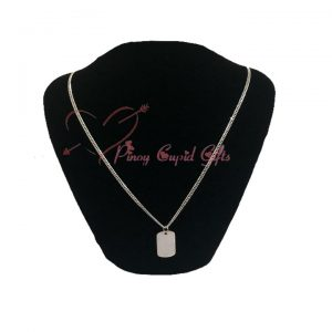 Men's Sterling Silver Clear Dog-Tag Necklace