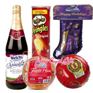 Welch Grape Juice, cadbury christmas stocking and Holiday Ham/cheeseball
