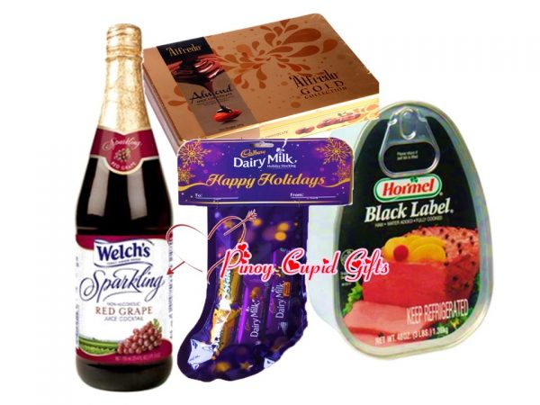 Welch Grape Juice, cadbury christmas stocking and Holiday Ham and chocolates