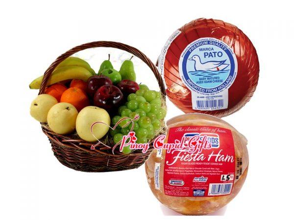 Holiday Fiesta Ham, Cheeseball and Fruit Basket
