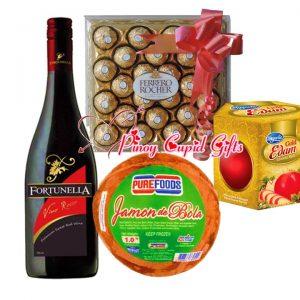 Fiesta Ham, Cheeseball, Ferrero and Holidays Sweet Red Wine