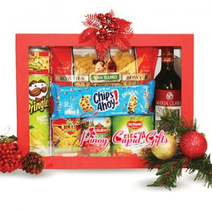 Assorted Holiday Gift Box: pasta, Tomatoes, Fruit Cocktail, Pringles, Kernel Corn, Mushroom, Cookies, Red Wine