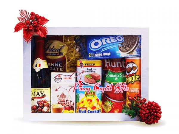 Holiday Gift Box: Pasta, Tomato sauce, Fruit Cocktail, chips, Luncheon Meat, cookies, Sparkling Juice