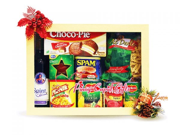 Holiday Gift Box: Fruit Cocktail, Tomato Sauce, Kernel Corn, Pasta, Spam, PikNik, Ham, cookies and Wine