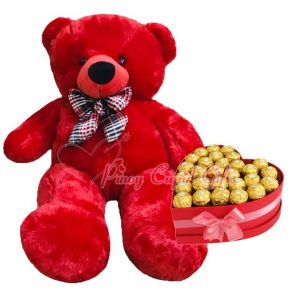 28 Inches Red Bear and 30pcs ferrero in chocolate heart box