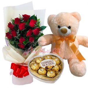 1 Dozen Red Roses Bouquet, 22 Inches Teddy Bear, Ferrero Heart Chocolate