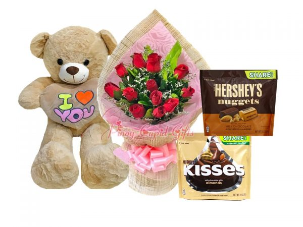 """1 Dozen Red Roses Bouquet, 3 FT """"I Love You"""" Bear, 1 Hershey's Nugget Pack, 1 Kisses Pack"""