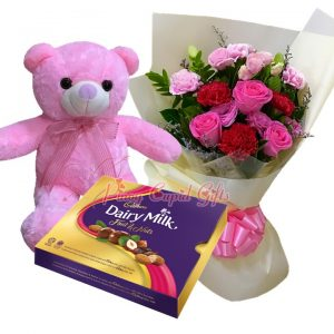 Mixed Flower Bouquet, 22 Inches Pink Bear, Cadbury Chocolate-180g
