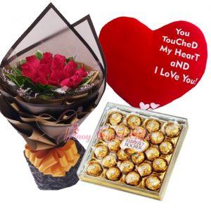 "1 Dozen Red Roses Bouquet, Big Heart Pillow (22"" x 18""), 24 pcs Ferrero Chocolate"