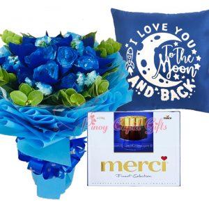 1 Dozen Blue Roses Bouquet, Merci European Chocolates, I Love You to the Moon...Pillow