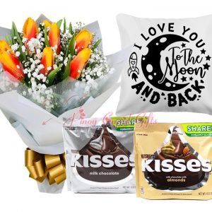 10 Orange Tulips Bouquet, Hershey's Kisses Share Pack x2, I Love You to the Moon-White Pillow