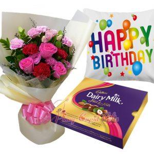 Mixed Flower Bouquet, Cadbury Chocolates-300g, Happy Birthday Pillow