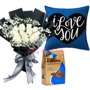 """10 White Roses Bouquet, Hershey's Kisses Truffle Filled Milk Chocolate 135g Blue, """"I Love You"""" Pillow"""