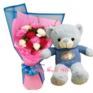 """10 Imported Yellow Roses Bouquet, 3FT Brown """"I Love You"""" Bear"""