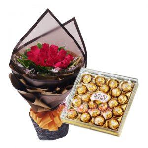 1 Dozen Red Roses Bouquet, 24 pcs Ferrero Chocolate
