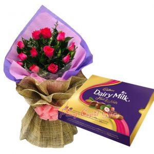 1 Dozen Pink Roses Bouquet, Cadbury Chocolate-300g
