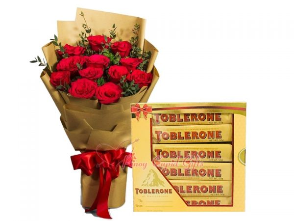 1 Dozen Red Roses Bouquet, Toblerone 6 x 50g Gift Pack