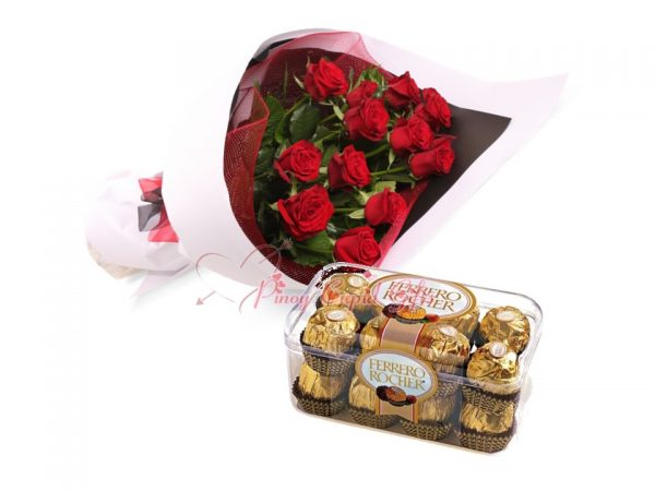 1 Dozen Red Roses Bouquet, 16 pc Ferrero Rocher Chocolate