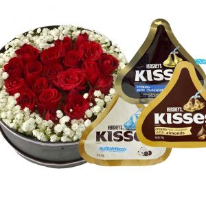 Red Roses in Round Gift Box, 3x146g Assorted Hershey's Iconic Kisses