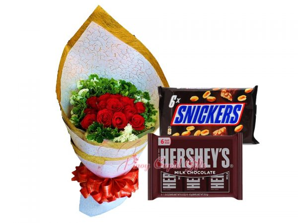1 Dozen Red Roses, Hershey's Milk Chocolate Pack & Sneakers Pack