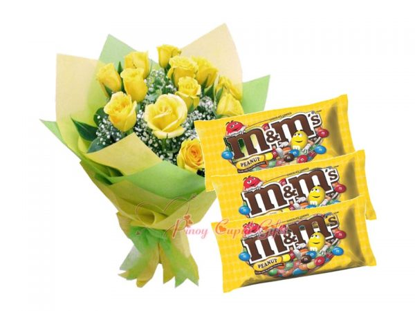 10 Imported Yellow Roses, Bouquet M&M's Chocolate 200g x3