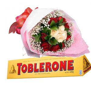 1 Dozen Red Rosesbouquet, Toblerone Chocolate 360g