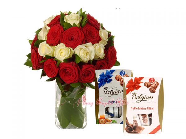 Mixed Red/White Roses in a Vase, & Belgian Chocolate (Original & Truffle)