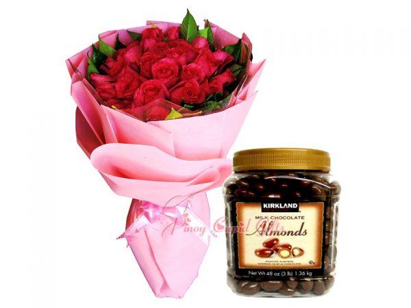 2 Dozen Red Roses Bouquet, Kirkland Roasted almonds 1.36kg