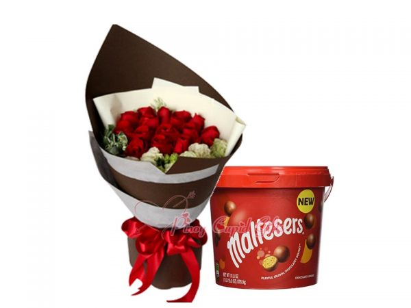 12 Red Roses Bouquet, Maltesers Bucket, 465g